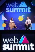 5 November 2019; Jessica Ennis-Hill, Founder & CEO, Jennis Fitness, and Ger Gilroy, Managing Director, Off The Ball, on SportsTrade stage during the opening day of Web Summit 2019 at the Altice Arena in Lisbon, Portugal. Photo by Stephen McCarthy/Web Summit via Sportsfile