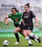 3 November 2019; Ciara Rossister of Wexford Youths in action against Niamh Farrelly of Peamount United during the Só Hotels FAI Women's Cup Final between Wexford Youths and Peamount United at the Aviva Stadium in Dublin. Photo by Ben McShane/Sportsfile