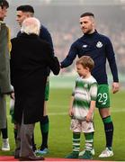3 November 2019; President of Ireland Michael D. Higgins with Jack Byrne of Shamrock Rovers and mascot Finn Libreri Coleman, age 5, before the extra.ie FAI Cup Final between Dundalk and Shamrock Rovers at the Aviva Stadium in Dublin. Photo by Ben McShane/Sportsfile