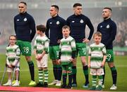 3 November 2019; Shamrock Rovers players, from left, Joey O'Brien, Aaron McEneff, Gary O'Neill and Jack Byrne with their respective mascots, including mascot Finn Libreri Coleman, age 5, right, before the extra.ie FAI Cup Final between Dundalk and Shamrock Rovers at the Aviva Stadium in Dublin. Photo by Ben McShane/Sportsfile