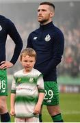 3 November 2019; Jack Byrne of Shamrock Rovers with mascot Finn Libreri Coleman, age 5, before the extra.ie FAI Cup Final between Dundalk and Shamrock Rovers at the Aviva Stadium in Dublin. Photo by Ben McShane/Sportsfile