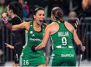 3 November 2019; Anna O'Flanagan, left, and Katie Mullan celebrate winning a short corner during the FIH Women's Olympic Qualifier match between Ireland and Canada at Energia Park in Dublin. Photo by Brendan Moran/Sportsfile