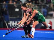 3 November 2019; Chloe Watkins of Ireland in action against Karli Johansen of Canada during the FIH Women's Olympic Qualifier match between Ireland and Canada at Energia Park in Dublin. Photo by Brendan Moran/Sportsfile