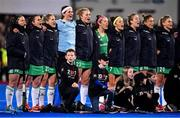 """3 November 2019; The Ireland team sing """"Ireland's Call"""" prior to the FIH Women's Olympic Qualifier match between Ireland and Canada at Energia Park in Dublin. Photo by Brendan Moran/Sportsfile"""