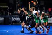 3 November 2019; Ireland players, from left, Nicola Daly, Roisin Upton, Chloe Watkins and Bethany Barr celebrate after winning the penalty shoot out and qualifing for the Tokyo 2020 Olympic Games after the FIH Women's Olympic Qualifier match between Ireland and Canada at Energia Park in Dublin. Photo by Brendan Moran/Sportsfile