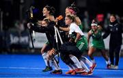 3 November 2019; Ireland players, from left, Roisin Upton, Nicola Daly, Gillian Pinder, Bethany Barr, and Chloe Watkins celebrate after winning the penalty shoot out and qualifing for the Tokyo 2020 Olympic Games after the FIH Women's Olympic Qualifier match between Ireland and Canada at Energia Park in Dublin. Photo by Brendan Moran/Sportsfile