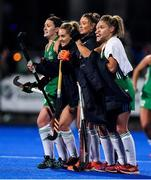 3 November 2019; Ireland players, from left, Roisin Upton, Nicola Daly, Gillian Pinder, Bethany Barr, and Chloe Watkins watch for the last Canada appeal during the penalty shootout before it was confirmed Ireland had won and qualified for the Tokyo 2020 Olympic Games after the FIH Women's Olympic Qualifier match between Ireland and Canada at Energia Park in Dublin. Photo by Brendan Moran/Sportsfile
