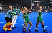 3 November 2019; Ireland players, from left, Ayeisha McFerran, Sarah Hawkshaw, Nicola Daly and Roisin Upton celebrate after the FIH Women's Olympic Qualifier match between Ireland and Canada at Energia Park in Dublin. Photo by Brendan Moran/Sportsfile
