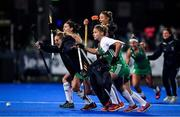 3 November 2019; Ireland players, from left, Roisin Upton, Nicola Daly, Gillian Pinder, and Chloe Watkins celebrate after winning the penalty shoot out and qualifing for the Tokyo 2020 Olympic Games after the FIH Women's Olympic Qualifier match between Ireland and Canada at Energia Park in Dublin. Photo by Brendan Moran/Sportsfile