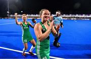 3 November 2019; Shirley McCay of Ireland celebrates after the FIH Women's Olympic Qualifier match between Ireland and Canada at Energia Park in Dublin. Photo by Brendan Moran/Sportsfile