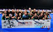 3 November 2019; The Ireland team celebrate after the FIH Women's Olympic Qualifier match between Ireland and Canada at Energia Park in Dublin. Photo by Brendan Moran/Sportsfile