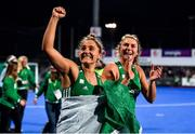 3 November 2019; Ireland players Elena Tice, left, and Deirdre Duke celebrate after the FIH Women's Olympic Qualifier match between Ireland and Canada at Energia Park in Dublin. Photo by Brendan Moran/Sportsfile