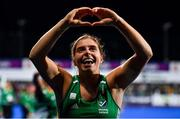 3 November 2019; Ireland captain Katie Mullan celebrates after the FIH Women's Olympic Qualifier match between Ireland and Canada at Energia Park in Dublin. Photo by Brendan Moran/Sportsfile