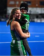 3 November 2019; Shirley McCay of Ireland celebrates with her nephew Alex after the FIH Women's Olympic Qualifier match between Ireland and Canada at Energia Park in Dublin. Photo by Brendan Moran/Sportsfile