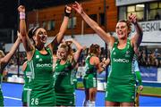 3 November 2019; Ireland players Anna O'Flanagan, left, and Nikki Evans celebrate after the FIH Women's Olympic Qualifier match between Ireland and Canada at Energia Park in Dublin. Photo by Brendan Moran/Sportsfile