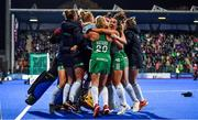 3 November 2019; Ireland players celebrate after the FIH Women's Olympic Qualifier match between Ireland and Canada at Energia Park in Dublin. Photo by Brendan Moran/Sportsfile