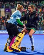 3 November 2019; Ayeisha McFerran, left, and Nikki Evans of Ireland celebrate after the FIH Women's Olympic Qualifier match between Ireland and Canada at Energia Park in Dublin. Photo by Brendan Moran/Sportsfile