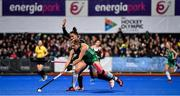 3 November 2019; Katie Mullan of Ireland in action against Sara McManus of Canada during the FIH Women's Olympic Qualifier match between Ireland and Canada at Energia Park in Dublin. Photo by Brendan Moran/Sportsfile
