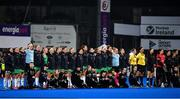 3 November 2019; The Ireland team stand for the national anthems prior to the FIH Women's Olympic Qualifier match between Ireland and Canada at Energia Park in Dublin. Photo by Brendan Moran/Sportsfile