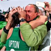 3 November 2019; Roisin Upton of Ireland celebrates with her first hockey coach Sean O'Callaghan after the FIH Women's Olympic Qualifier match between Ireland and Canada at Energia Park in Dublin. Photo by Brendan Moran/Sportsfile