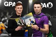 6 November 2019; The Gaelic Players Association's (GPA) Chief Executive Paul Flynn has launched their Student Report 2019 at the Campus Conference in Abbotstown in Dublin. The report highlights the challenges experienced by GPA student-members and provides actionable GPA recommendations to help student-members achieve better-balanced lifestyles so they can thrive on and off the field, Pictured at the Gaelic Players Association Launch Student Report are from left  Tyrone footballer Conor Myler and Wexford hurler Rory O'Connor.    Photo by Matt Browne/Sportsfile