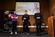 6 November 2019; The Gaelic Players Association's (GPA) Chief Executive Paul Flynn has launched their Student Report 2019 at the Campus Conference in Abbotstown in Dublin. The report highlights the challenges experienced by GPA student-members and provides actionable GPA recommendations to help student-members achieve better-balanced lifestyles so they can thrive on and off the field, Pictured at the Gaelic Players Association Launch Student Report are from left Wexford hurler Rory O'Connor, GPA CEO Paul Flynn and Tyrone footballer Conor Meyler.    Photo by Matt Browne/Sportsfile