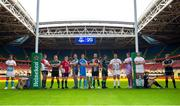 6 November 2019; In attendance at the EPCR 2019/20 Season Launch are, from left, Jono Ross of Sale Sharks, Ellis Jenkins of Cardiff Blue, Ben Morgan of Gloucester, Alex Waller of Northhampton Saints, Rory Scannell of Munster, Dan Lydiate of Osprey, Jonathan Sexton of Leinster, Christ Robshaw of Harlequin, Jarrad Butler of Connacht, Sam Skinner of Exeter Chiefs, Iain Henderson of Ulster, Charlie Ewels of Bath Rugby and Callum Gibbins of Glasgow Warriors. Principality Stadium, Cardiff. Photo by Gareth Everitt/Sportsfile