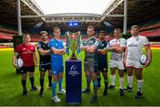 6 November 2019; In attendance at the EPCR 2019/20 Season Launch are, from left, Rory Scannell of Munster,Callum Gibbins of Glasgow Warriors, Jonathan Sexton of Leinster, Dan Lydiate of Osprey, Jarrad Butler of Connacht, Alberto Sgarbi of Benetton and Iain Henderson of Ulster. Principality Stadium, Cardiff. Photo by Gareth Everitt/Sportsfile