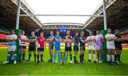 6 November 2019; In attendace at the EPCR 2019/20 Season Launch is, from left, Jono Ross of Sales Sharks, Ben Morgan of Gloucester, Alex Waller of Northampton Saints, Rory Scannell of Munster, Dan Lydiate of Osprey, Jonathan Sexton of Leinster, Chris Robshaw of Harlequins, Jarrad Butler of Connacht, Callum Gibbins of Glasgow Warriors, Alberto Sgarbi of Benetton, Sam Skinner of Exeter Chiefs, Iain Henderson of Ulster and Charlie Ewels of Bath Rugby. Principality Stadium in Cardiff. Photo by Gareth Everitt/Sportsfile