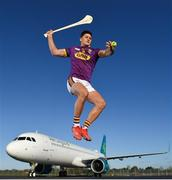 8 November 2019; Wexford's Lee Chin was at Aer Lingus Hangar 6 at Dublin Airport this morning where Aer Lingus, in partnership with the GAA & GPA, unveiled a one-of-a-kind customised playing kit for the New York Hurling Classic which takes place at Citi Field in New York on November 16th. Aer Lingus will once again be the Official Airline of the event and will be responsible for flying the four teams to New York.  Aer Lingus is Ireland's only 4-Star airline and has been involved in the Hurling Classic on three previous occasions where it has been played at Fenway Park in 2015, 2017 & 2018. Photo by Seb Daly/Sportsfile