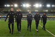8 November 2019; Players, from left to right, Daniel Kelly, Seán Gannon, Dylan Hand, Jamie McGrath and Lido Lotefa of Dundalk prior to the Unite the Union Champions Cup first leg match between Linfield and Dundalk at the National Football Stadium at Windsor Park in Belfast. Photo by Oliver McVeigh/Sportsfile