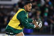 8 November 2019; Bundee Aki of Connacht warms up prior to the Guinness PRO14 Round 6 match between Connacht and Leinster in the Sportsground in Galway. Photo by Brendan Moran/Sportsfile