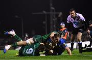 8 November 2019; Luke McGrath of Leinster is tackled by Caolin Blade, 9, and Eoghan Masterson of Connacht during the Guinness PRO14 Round 6 match between Connacht and Leinster at the Sportsground in Galway. Photo by Ramsey Cardy/Sportsfile