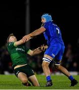8 November 2019; Jack Carty of Connacht is tackled by Will Connors of Leinster resulting in a penaty for Connacht during the Guinness PRO14 Round 6 match between Connacht and Leinster in the Sportsground in Galway. Photo by Brendan Moran/Sportsfile