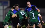 8 November 2019; Rónan Kelleher of Leinster is tackled by Sean O'Brien, left, and Peter Robb of Connacht during the Guinness PRO14 Round 6 match between Connacht and Leinster at the Sportsground in Galway. Photo by Ramsey Cardy/Sportsfile