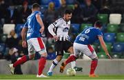 8 November 2019; Pat Hoban of Dundalk in action against Jimmy Callacher of Linfield during the Unite the Union Champions Cup first leg match between Linfield and Dundalk at the National Football Stadium at Windsor Park in Belfast. Photo by Oliver McVeigh/Sportsfile