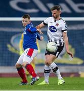 8 November 2019; Shayne Lavery of Linfield in action against Andy Boyle of Dundalk during the Unite the Union Champions Cup first leg match between Linfield and Dundalk at the National Football Stadium at Windsor Park in Belfast. Photo by Oliver McVeigh/Sportsfile