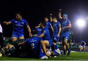 8 November 2019; Leinster players including Rónan Kelleher, Luke McGrath and Will Connors celebrate a try during the Guinness PRO14 Round 6 match between Connacht and Leinster at the Sportsground in Galway. Photo by Ramsey Cardy/Sportsfile