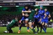 8 November 2019; Joe Tomane of Leinster is tackled by Stephen Fitzgerald, left, and Jack Carty of Connacht during the Guinness PRO14 Round 6 match between Connacht and Leinster at the Sportsground in Galway. Photo by Ramsey Cardy/Sportsfile