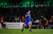 8 November 2019; James Lowe of Leinster on his way to scoring his side's sixth try during the Guinness PRO14 Round 6 match between Connacht and Leinster at the Sportsground in Galway. Photo by Ramsey Cardy/Sportsfile