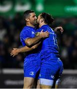 8 November 2019; Rob Kearney, left, congratulates Leinster team-mate James Lowe after his side's sixth try during the Guinness PRO14 Round 6 match between Connacht and Leinster at the Sportsground in Galway. Photo by Ramsey Cardy/Sportsfile