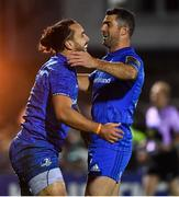 8 November 2019; James Lowe of Leinster, left, celebrates with team-mate Rob Kearney after scoring their side's sixth try during the Guinness PRO14 Round 6 match between Connacht and Leinster in the Sportsground in Galway. Photo by Brendan Moran/Sportsfile