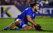 8 November 2019; James Lowe of Leinster celebrates after scoring his side's sixth try during the Guinness PRO14 Round 6 match between Connacht and Leinster in the Sportsground in Galway. Photo by Brendan Moran/Sportsfile