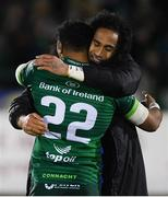 8 November 2019; Bundee Aki of Connacht and Joe Tomane of Leinster following the Guinness PRO14 Round 6 match between Connacht and Leinster at the Sportsground in Galway. Photo by Ramsey Cardy/Sportsfile