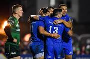 8 November 2019; James Lowe of Leinster celebrates after scoring his side's sixth try with team-mates Rob Kearney, Jimmy O'Brien and Adam Byrne during the Guinness PRO14 Round 6 match between Connacht and Leinster in the Sportsground in Galway. Photo by Brendan Moran/Sportsfile