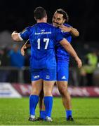 8 November 2019; James Lowe of Leinster, right, celebrates with team-mate Ed Byrne after the Guinness PRO14 Round 6 match between Connacht and Leinster in the Sportsground in Galway. Photo by Brendan Moran/Sportsfile
