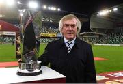 8 November 2019; Former Northern Ireland goalkeeper Pat Jennings with the Champions Cup before the Unite the Union Champions Cup first leg match between Linfield and Dundalk at the National Football Stadium at Windsor Park in Belfast. Photo by Oliver McVeigh/Sportsfile