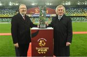 8 November 2019; Len McCluskey of Unite Union and Former Northern Ireland goalkkeperand Unite the Union Ambassador  Pat Jennings before the Unite the Union Champions Cup first leg match between Linfield and Dundalk at the National Football Stadium at Windsor Park in Belfast. Photo by Oliver McVeigh/Sportsfile