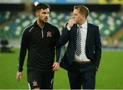 8 November 2019; Dundalk head coach Vinny Perth, right, talking to Pat Hoban before the Unite the Union Champions Cup first leg match between Linfield and Dundalk at the National Football Stadium at Windsor Park in Belfast. Photo by Oliver McVeigh/Sportsfile