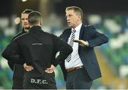 8 November 2019; Dundalk head coach Vinny Perth, right, talking to Dane Massey and Michael Duffy before the Unite the Union Champions Cup first leg match between Linfield and Dundalk at the National Football Stadium at Windsor Park in Belfast. Photo by Oliver McVeigh/Sportsfile